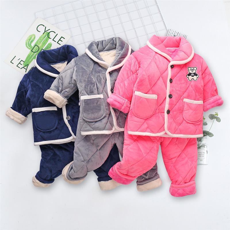 秋冬季儿童三层夹棉法兰绒男童女童睡衣宝宝珊瑚绒加厚款0男孩3岁