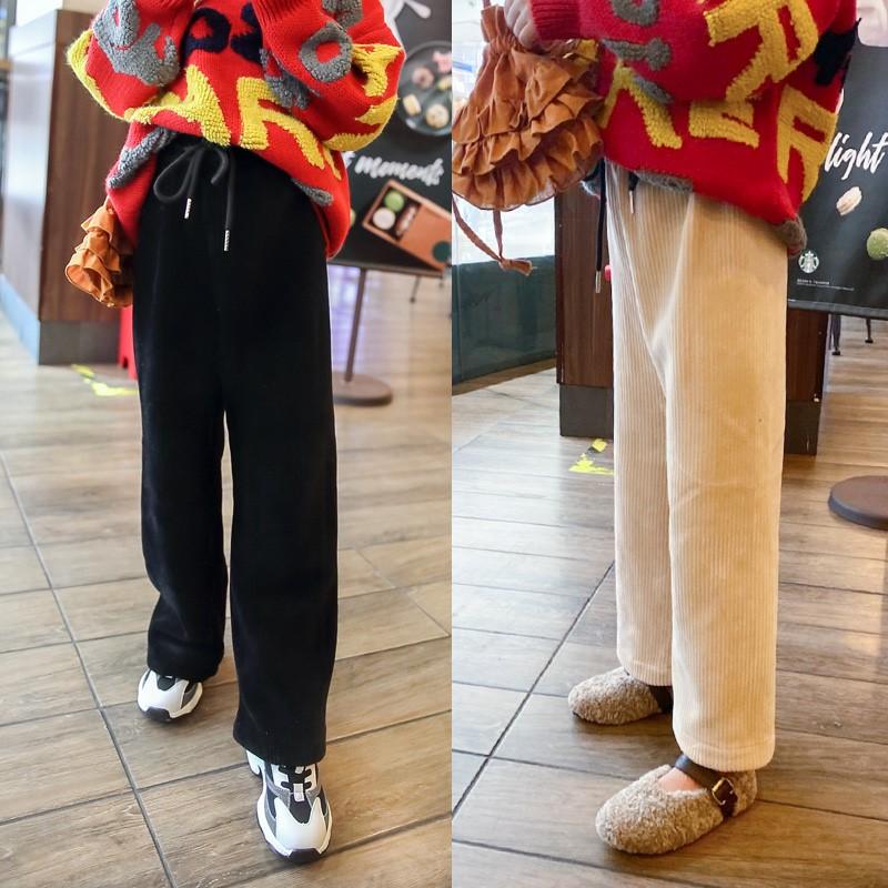 女童阔腿裤2019秋冬新款韩版灯芯绒内加绒宽松直筒裤长裤子B19-3