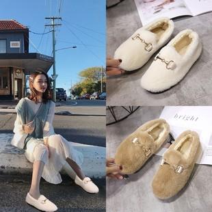 2018新款韩版圆头金属扣平底毛毛鞋女冬平底羊羔毛加绒保暖豆豆鞋