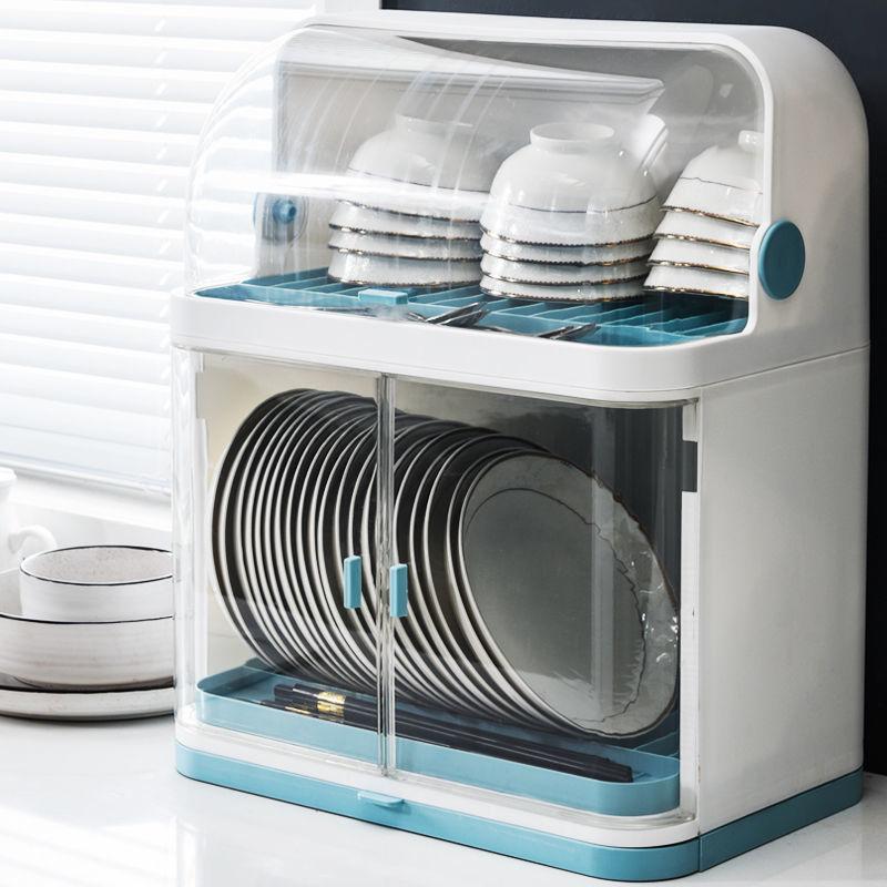 碗筷收纳盒带盖厨房餐具沥水置物架特大号装放盘子碗碟箱塑料碗柜