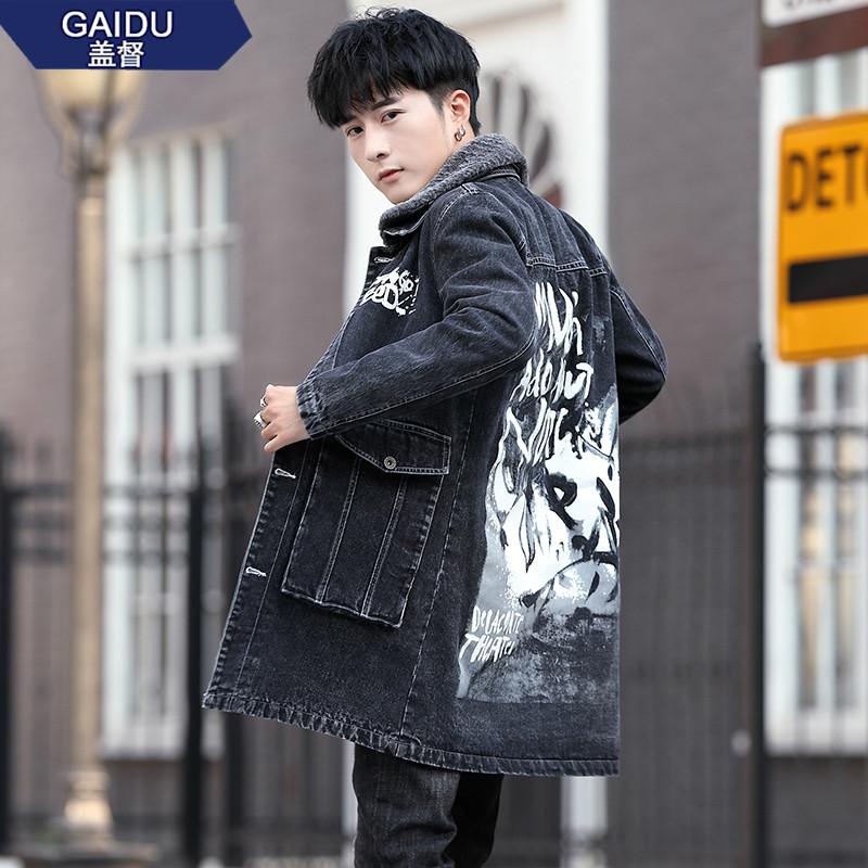 秋冬季男士中长款牛仔风衣青少年加绒外套学生夹克男韩版潮流修身