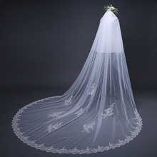 Suzhou wedding dress headdress 3.8m long with Veil Bride headdress accessories Korean wedding dress headdress