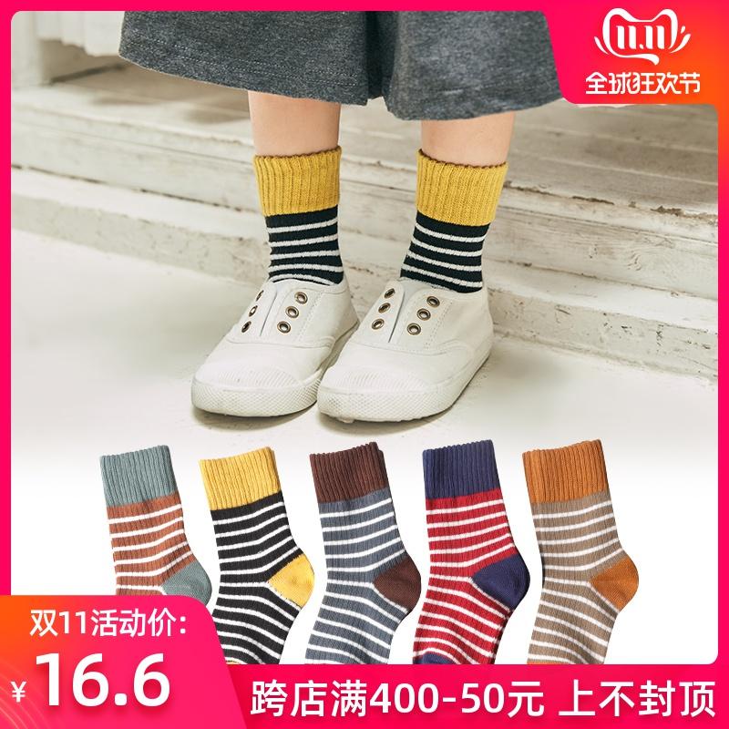 儿童袜子纯棉春秋女童条纹袜男童中筒袜复古宝宝堆堆袜3-5-8-9岁