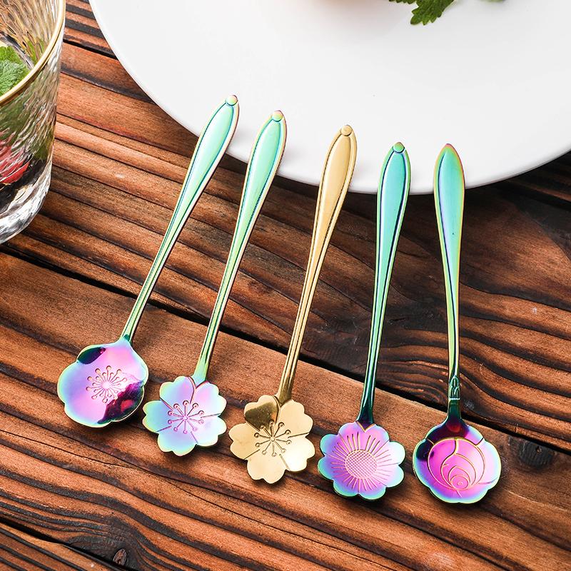 创意不锈钢金色咖啡匙可爱小号网红勺子短柄精致牛奶樱花搅拌勺长