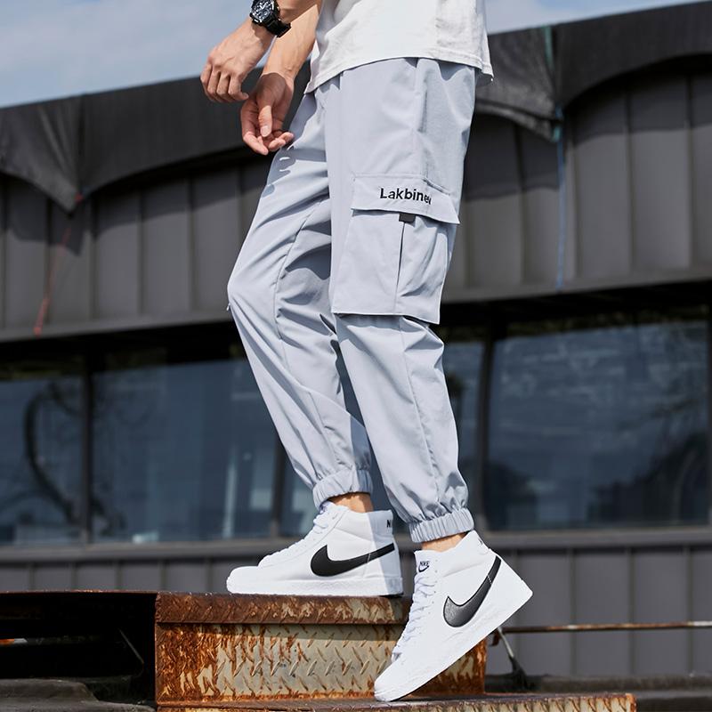 夏季裤子男士韩版潮流宽松工装裤运动休闲小脚修身九分裤薄款长裤