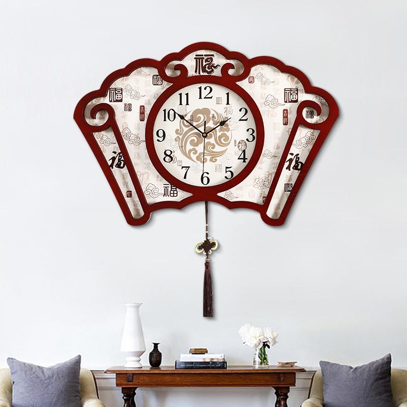 新中式扇形挂钟客厅静音家用时尚挂表中国风时钟简约古典大气钟表
