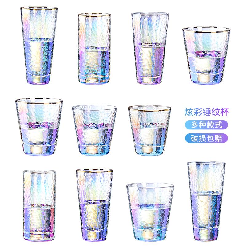 耐高温金边炫彩玻璃杯ins风高颜值网红水杯家用彩色七彩锤纹杯子
