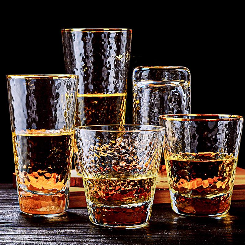 曼薇大容量玻璃杯子透明描金边啤酒杯ins风北欧创意网红日式家用