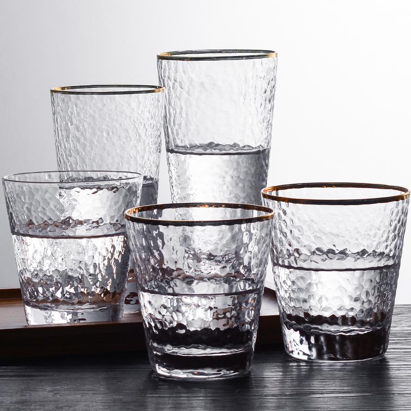 日式金边玻璃杯创意餐厅透明耐热水杯套装家用锤纹杯子果汁饮品杯