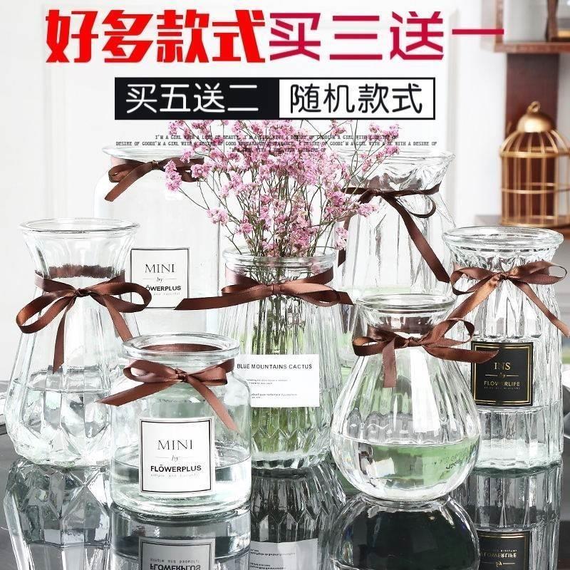 装满天星干花的花瓶玻璃透明装饰品桌面瓶子寝室放满天星新居北欧