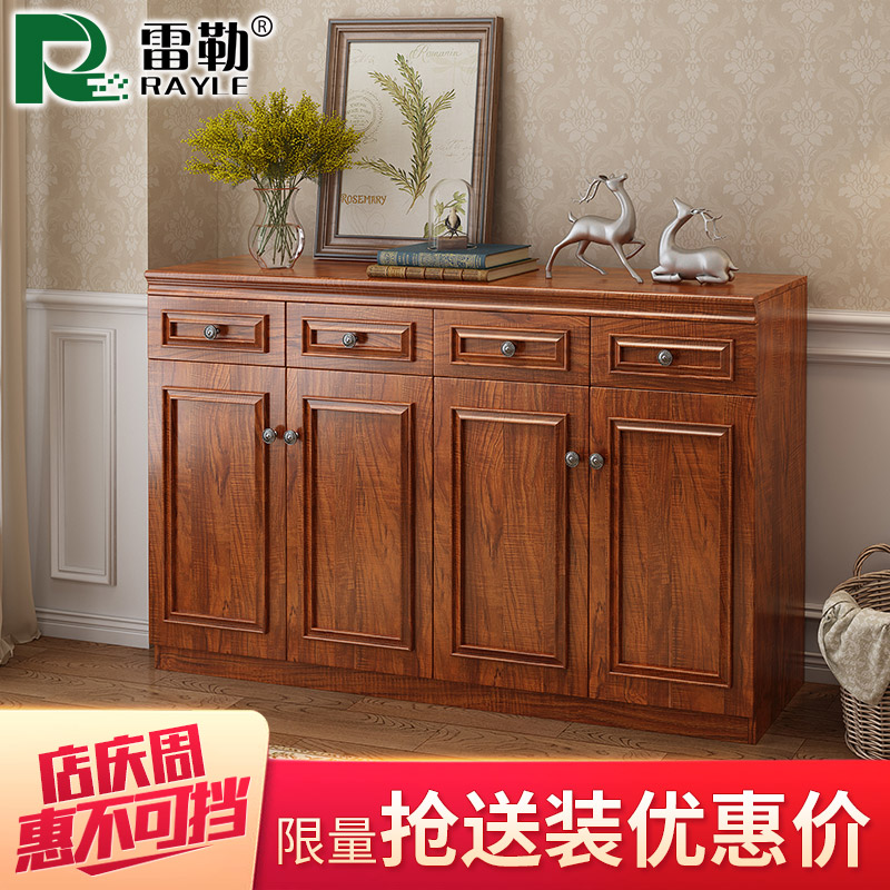 中式鞋柜实木条简约现代门厅柜美式鞋柜玄关柜大容量收纳对开门柜