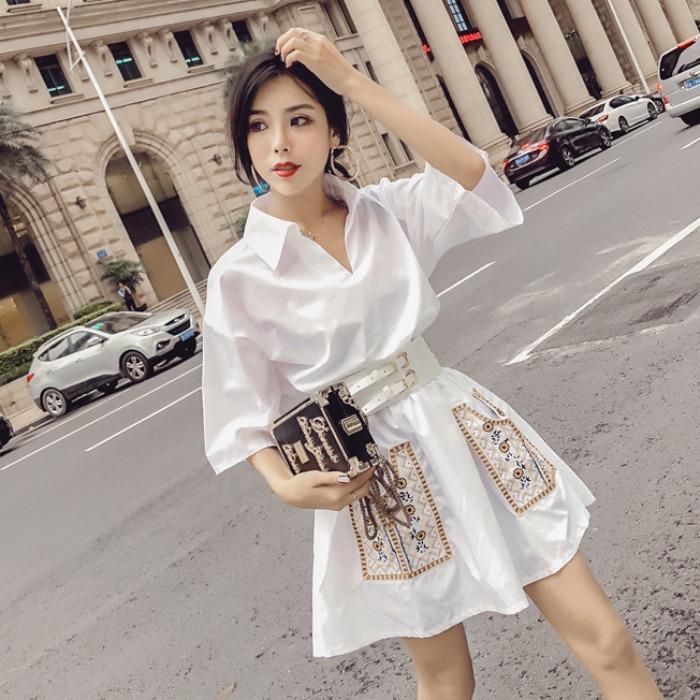 收腰显瘦白色短袖连衣裙子女装