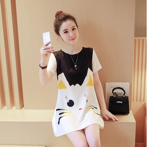 2018 new summer fashion models Korean version of the loose casual skirt tide mother printing cat pregnant women dress su