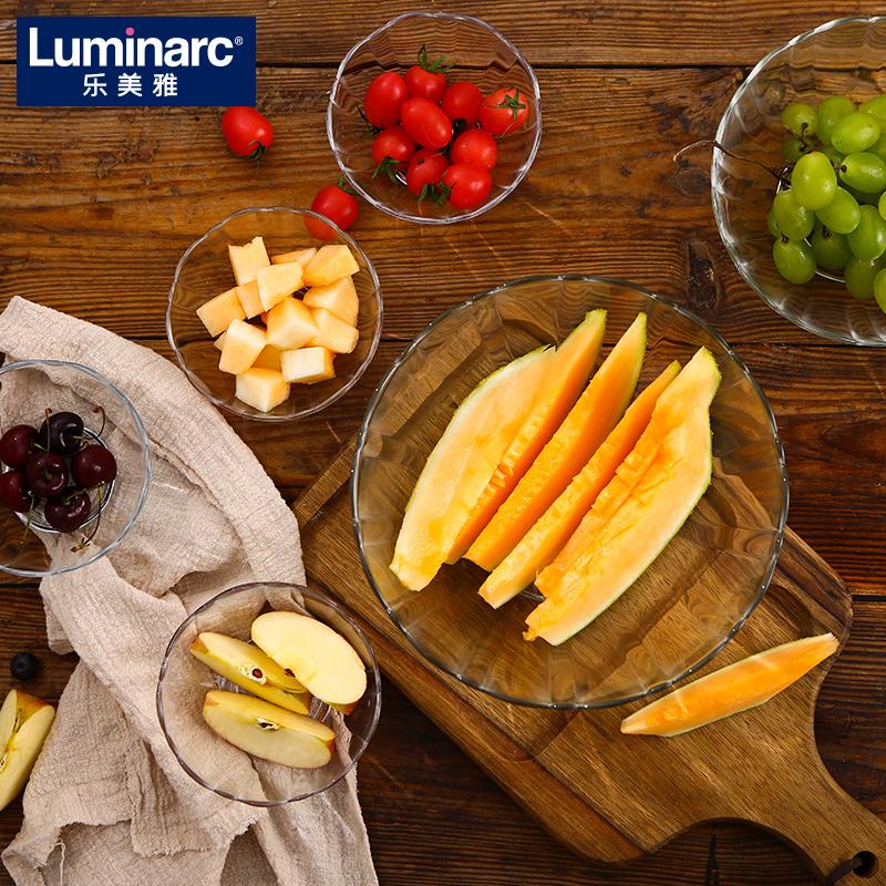 乐美雅透明沙拉碗玻璃碗家用耐热吃饭水果捞北欧大小号微波炉专用