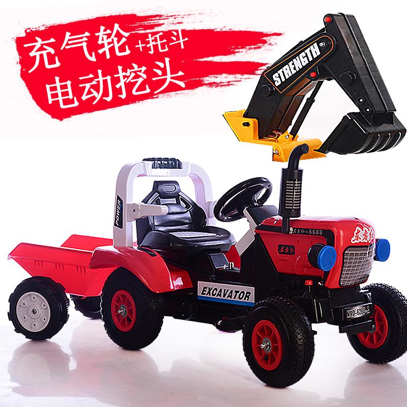 儿童电动挖掘机可坐可骑大号四轮拖拉机宝宝充电玩具挖土机工程车