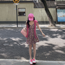 徐琳minwe2紫色碎花uo夏法款减龄显瘦荷叶边雪纺吊带裙三件套