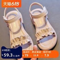 女童凉鞋夏季2021年新款儿童软底真皮宝宝凉鞋小公主中大童女童鞋