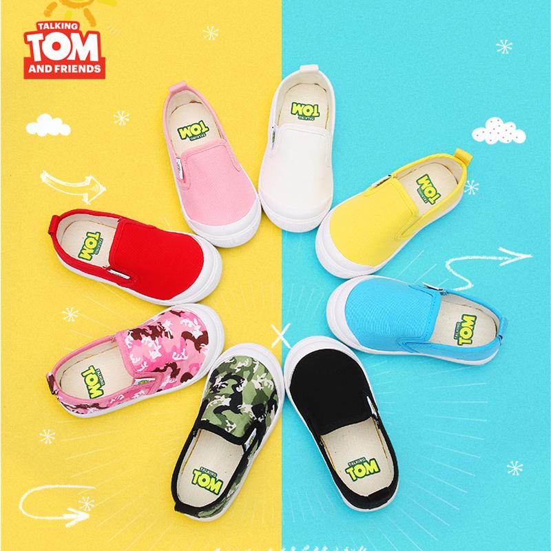 汤姆猫儿童帆布鞋2019开学季男童女童秋季宝宝幼儿园一脚蹬小白鞋