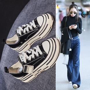 春季帆布鞋ins爆款小白鞋2020新款女鞋厚底百搭内增高休闲板鞋夏