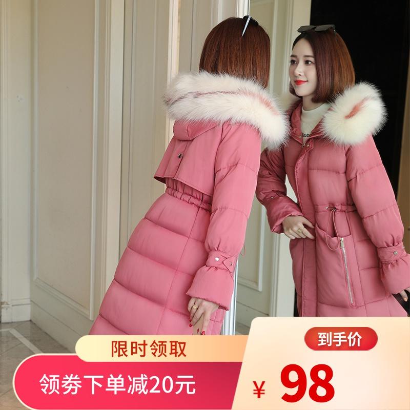 反季冬装新款羽绒棉服女中长款韩版宽松过膝长款棉衣女厚棉袄外套图片