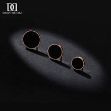 韩国简约(小)巧黑色钛钢fo7钉女圆形ot21新款潮镀玫瑰金气质耳饰
