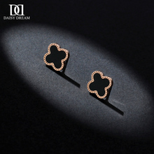 黑色四叶草耳钉女18k镀玫瑰金zi12021nz气质韩国钛钢(小)耳环