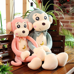 Monkey doll plush toy sleeping on the bed with cute puppet doll doll pillow girl birthday gift
