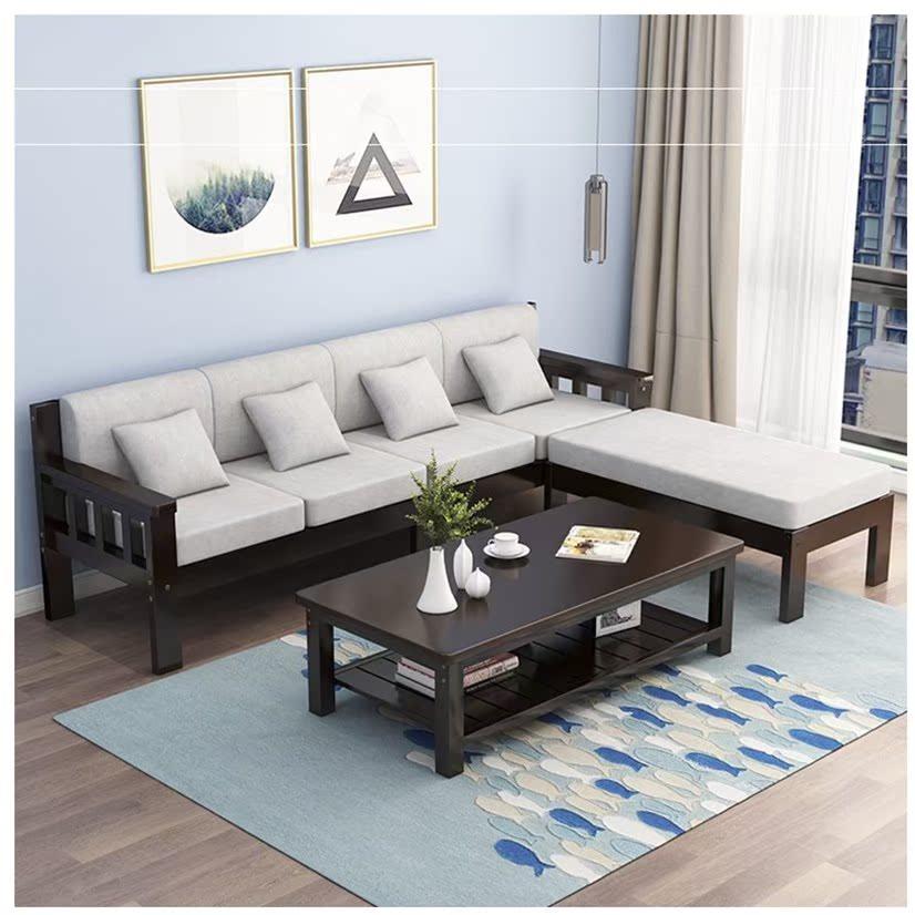 农村冬夏两用沙发贵妃转角套装布艺客厅经济型现代简约全实木组合
