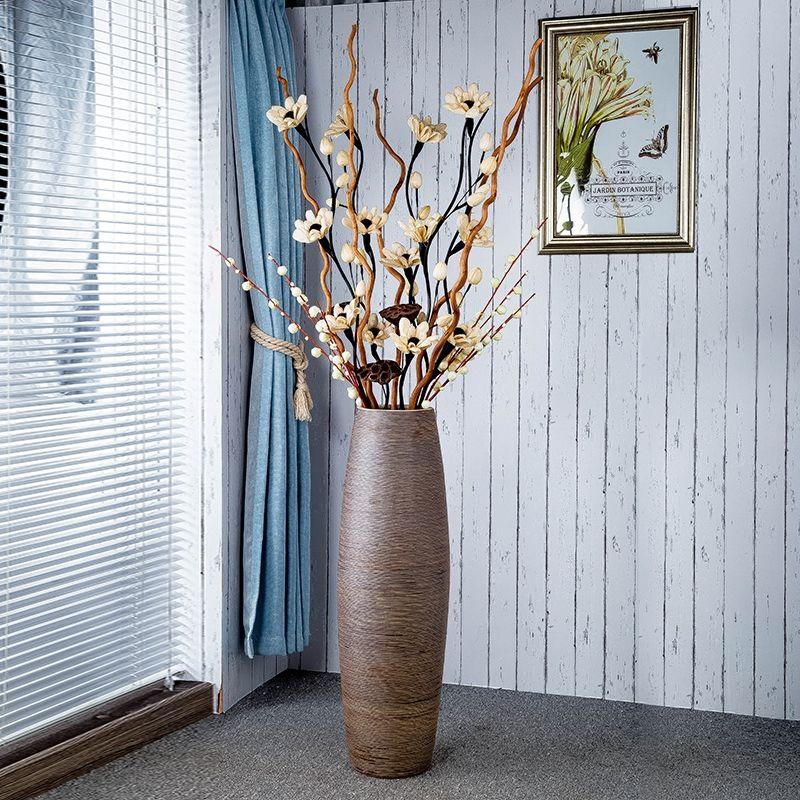 景德镇干花落地花瓶大号陶瓷摆件高现代简约装饰套装客厅欧式插花