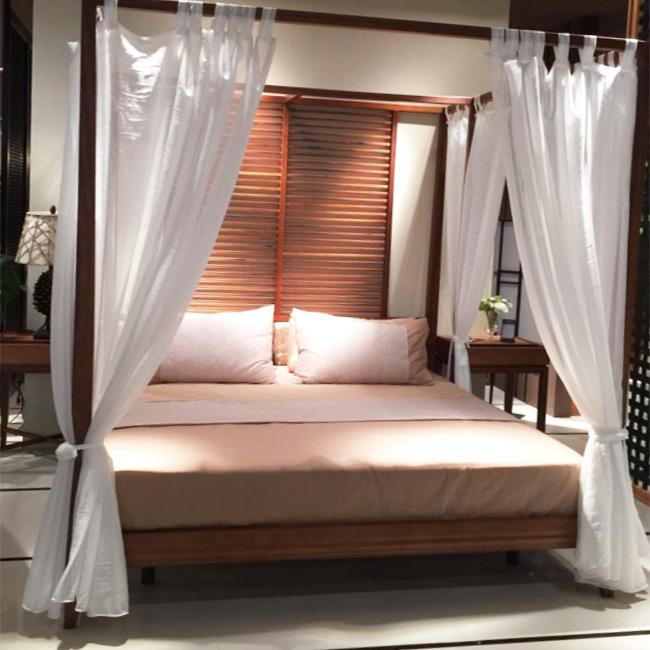 东南亚风美式中式主题酒店客栈床幔纱幔四柱架