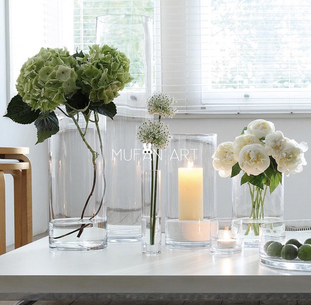 北欧透明直筒玻璃花瓶水培花器富贵竹餐厅摆件客厅花店花瓶大号