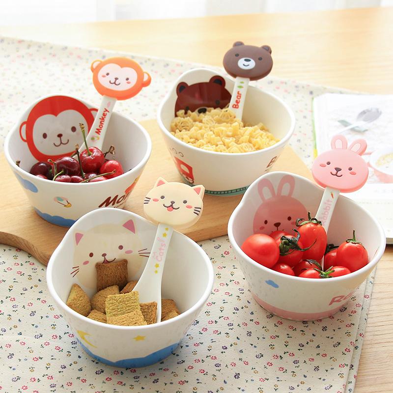 儿童可爱卡通陶瓷碗少女心创意小碗家用餐具套装宝宝喝汤碗吃饭碗