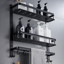 層不鏽鋼衛浴用品3層2衛生間置物架壁掛浴室雙層玻璃毛巾架免打孔