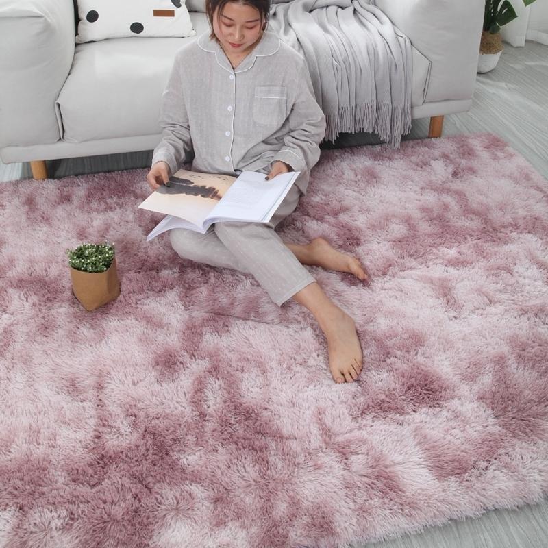 地毯卧室满铺长毛绒房间床边床前毯ins网红客厅茶几垫渐变厚地垫