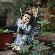 美款乡村复古树脂的物(小)天使雕ch11摆件户in园装饰 庭院摆件