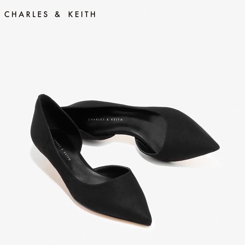 CHARLES&KEITH秋单鞋女CK1-60900049通勤侧镂空尖头低跟小猫跟鞋
