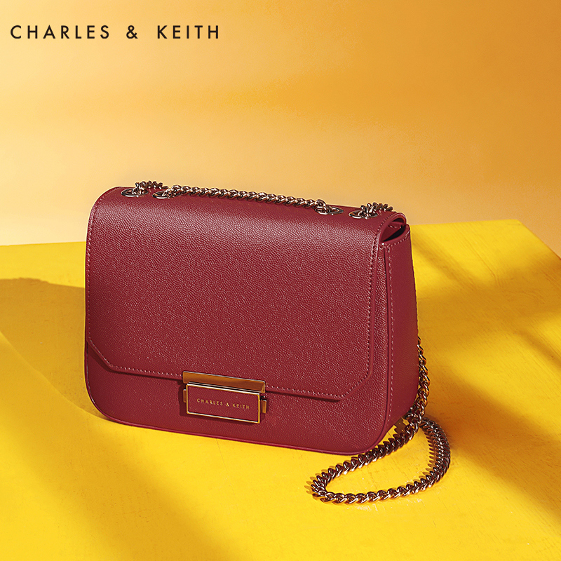 CHARLES&KEITH小方包女CK2-80670517 欧美简约链条手拎单肩包