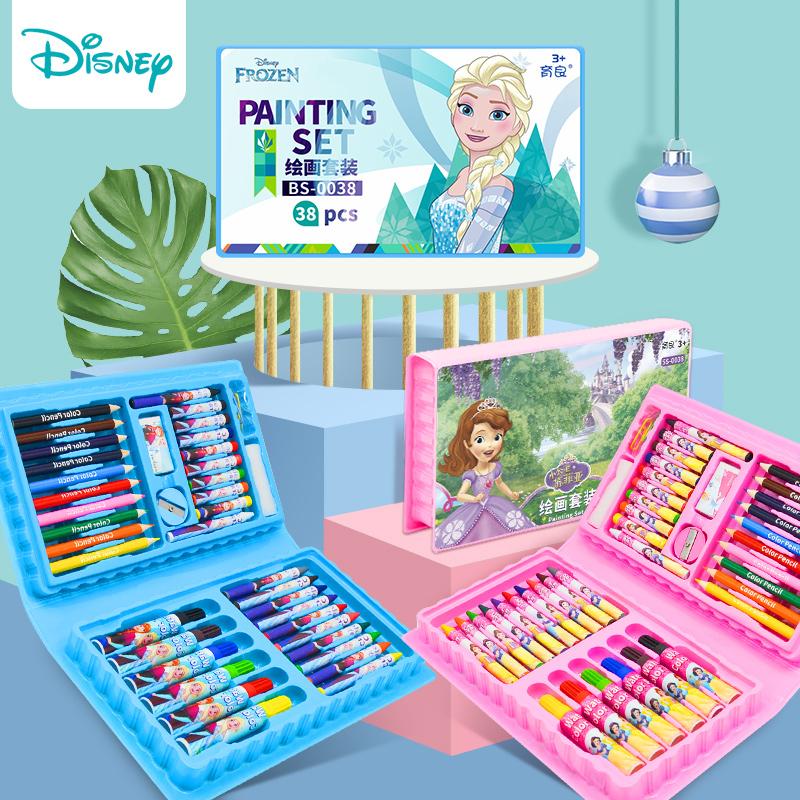 迪士尼水彩笔套装彩色笔幼儿园画画笔彩笔儿童小学生颜色笔可水洗安全无毒水彩画笔蜡笔手绘学生用美术绘画笔