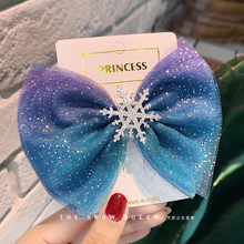 Ice and snow Qiyuan 2 hair accessories South Korean children's hairpin Princess Aisha hairpin lovely bow headdress girl's leather band