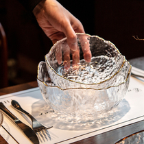 日式金边碗透明沙拉碗玻璃碗饭碗家用碗盘餐具套装创意甜品北欧碗