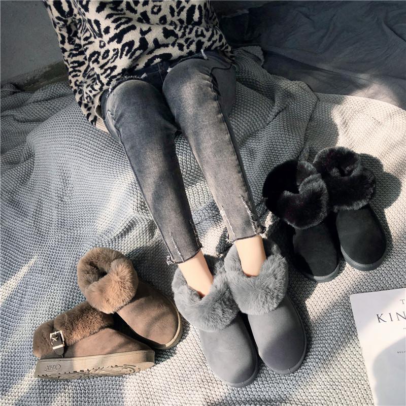 毛毛鞋女2018新款冬季加绒保暖短筒韩版百搭棉鞋防滑平底雪地靴女