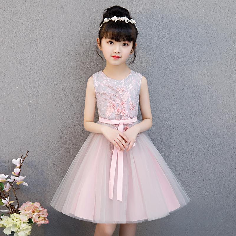 女童连衣裙2019夏季新款韩版礼服裙无袖蓬蓬纱小女孩超洋气公主裙