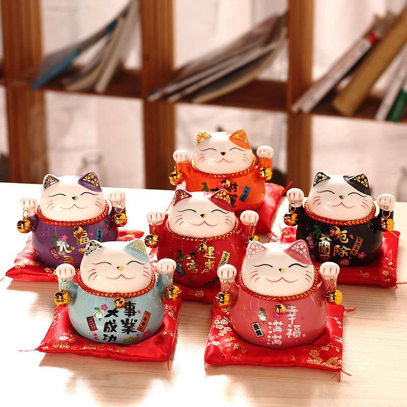 招财猫小摆件开业陶瓷创意存钱罐家用店铺装饰开业礼品日式发财猫