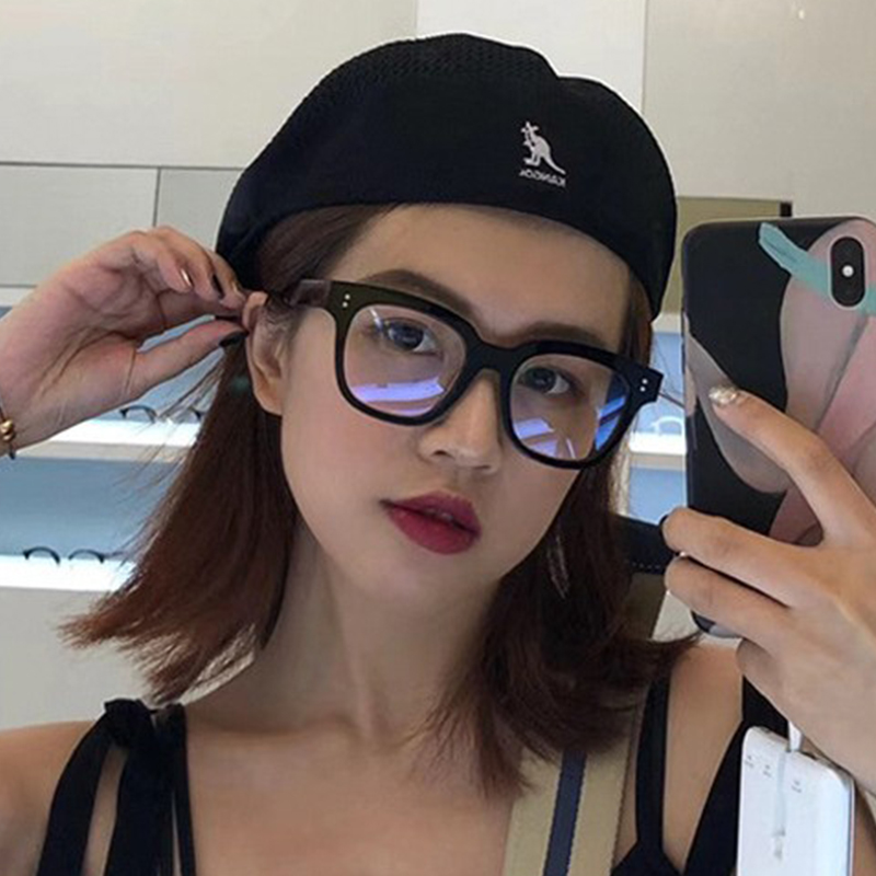 GM黑框防辐射抗蓝光眼镜男女素颜雪梨网红大框平光镜架配近视眼睛