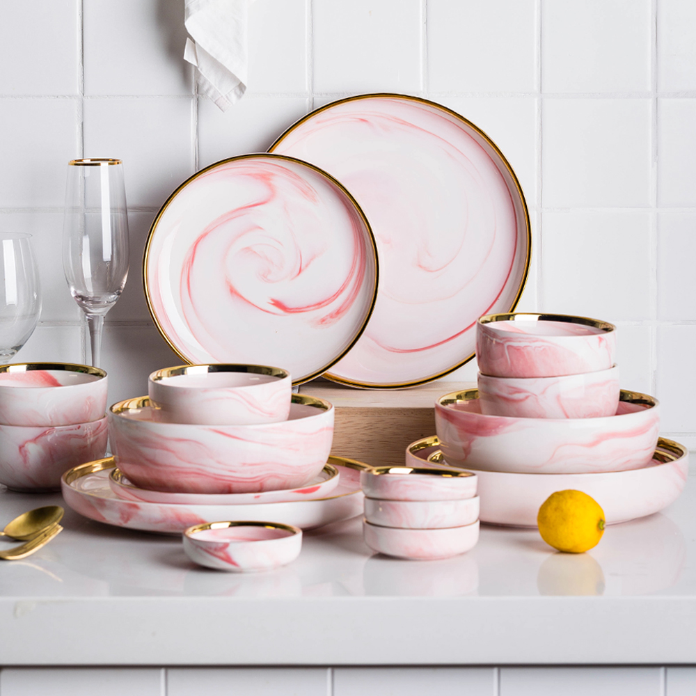 摩登主妇蜜糖粉色金边大理石餐具套装陶瓷碗碟套装家用饭碗盘子碗-摩登主妇生活馆-12月