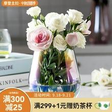摩登主妇宽口花瓶创意珠光炫彩电镀玻ai14花器插ou装饰器皿
