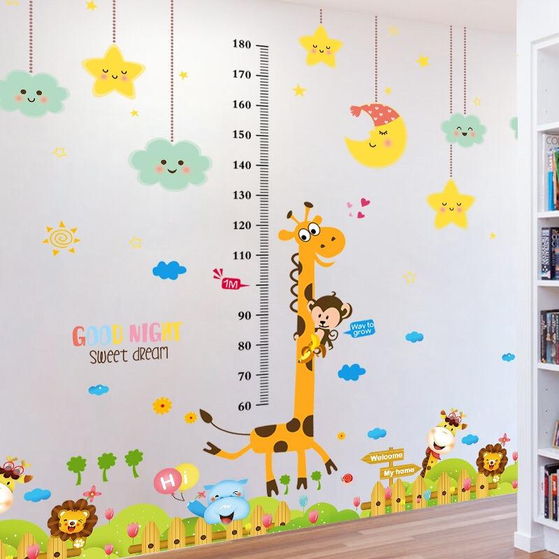卡通儿童测量仪尺宝宝身高贴纸可移除量身高墙贴墙面装饰墙纸自粘