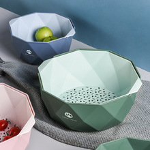 水果盘北欧风格创wt5ins客zk房双层洗菜盆沥水篮洗水果篮子