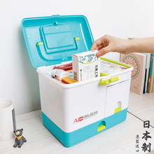 日本急救箱家庭医疗箱家用医药箱特rb13号塑料bi�a品收纳盒