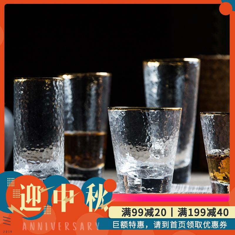 锤目纹日式金边锤纹杯玻璃杯家用水杯茶杯酒杯果汁杯饮料杯子套装